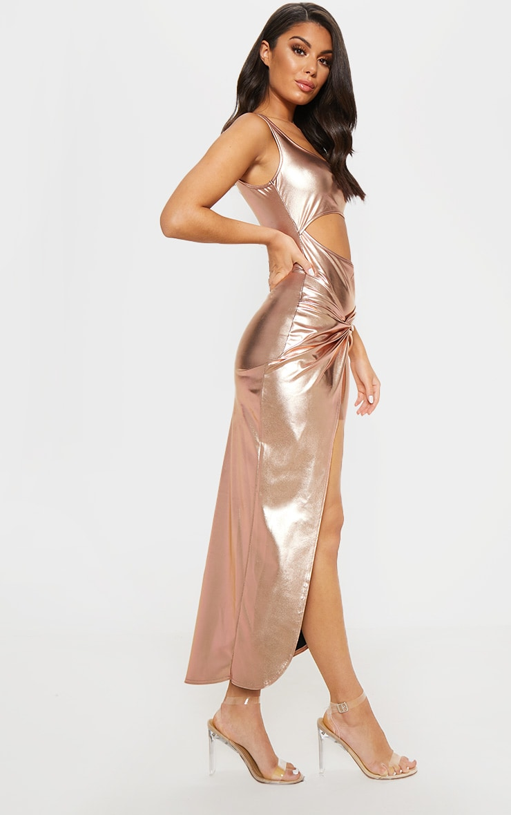 Rose Gold Cut Out Knot Detail Midi Dress 3