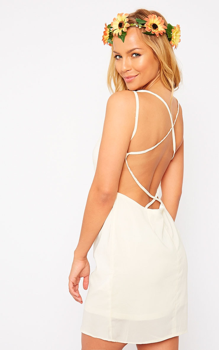 Hettie Cream Cross Back Mini Dress 1