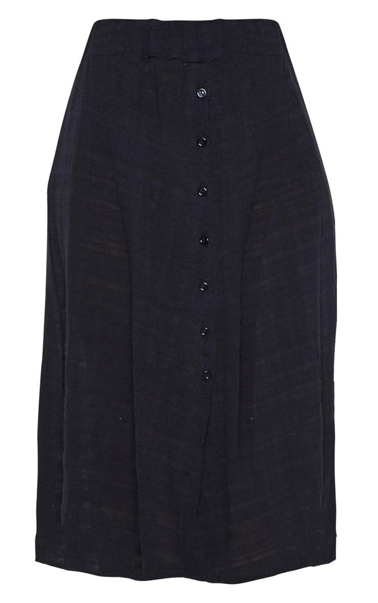 Black Cotton Button Up Beach Skirt 6