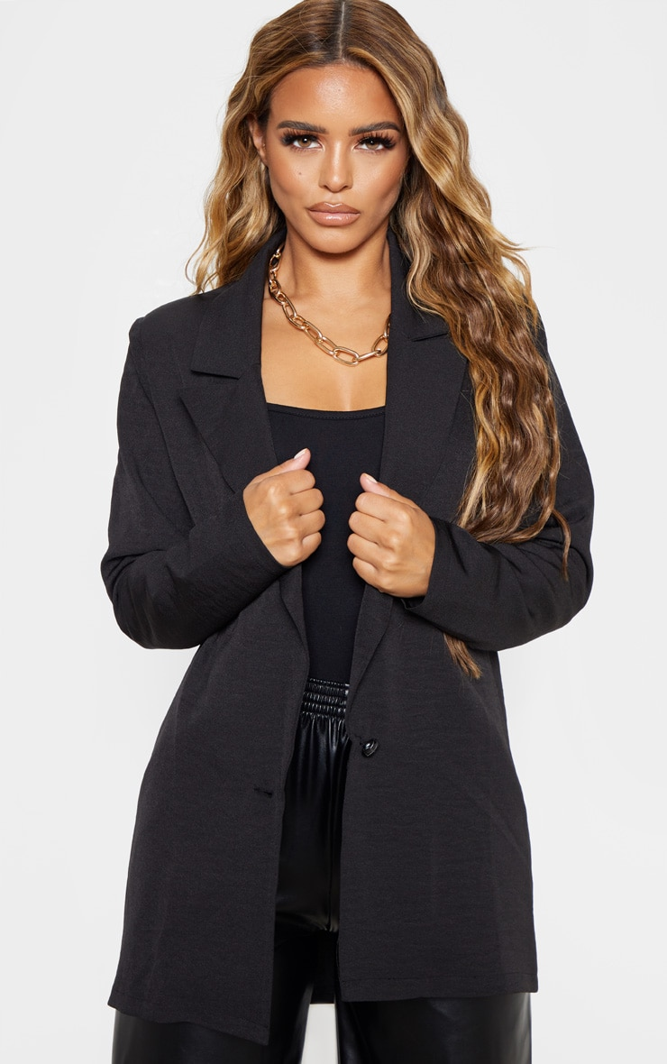 Petite Black Super Oversized Woven Blazer  1