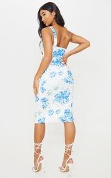 Blue Floral Print Ruched One Shoulder Midi Dress 2