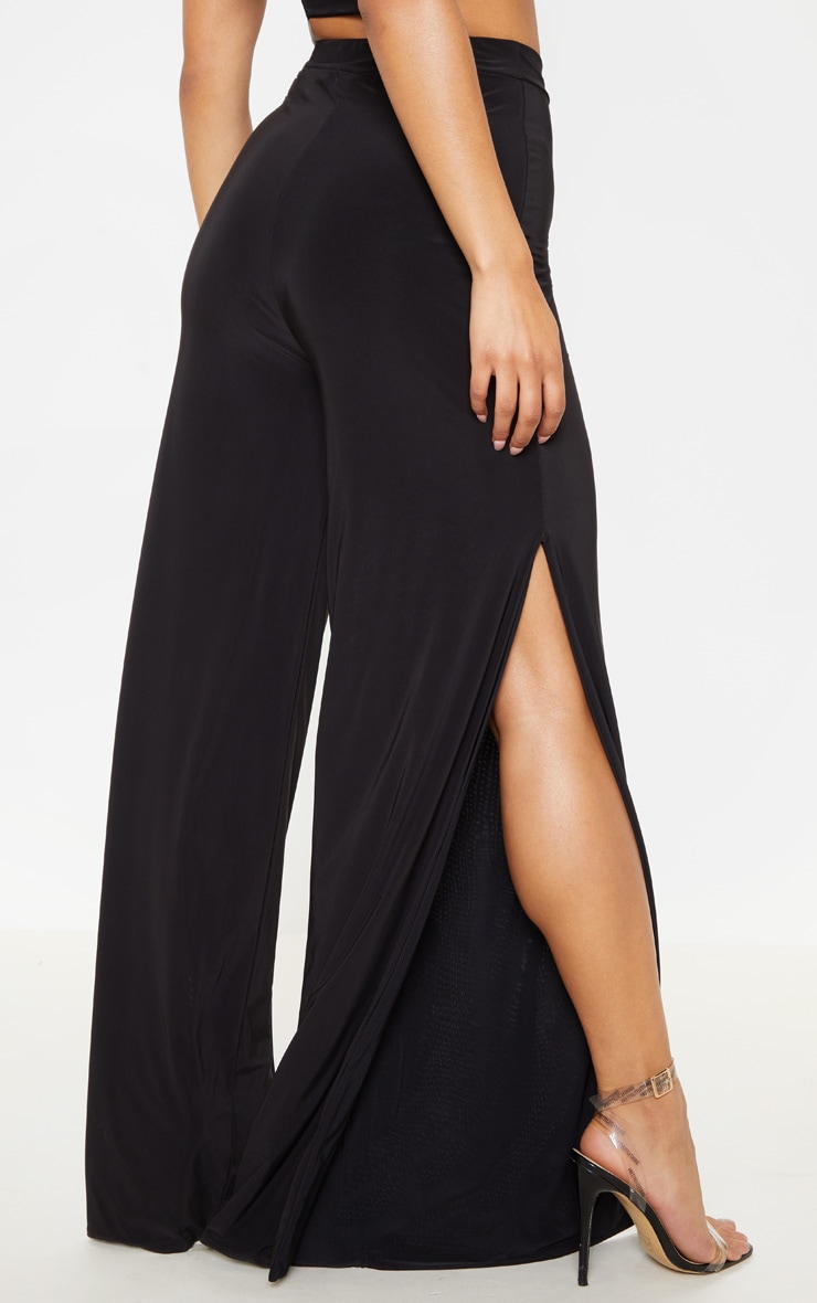 Darsee Black Side Split Slinky Trousers 4
