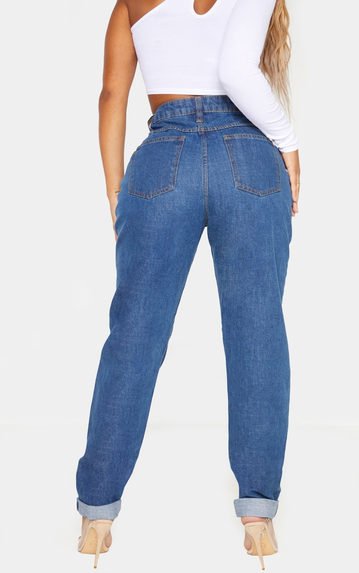 Shape Mid Wash High Waist Mom Jeans 4