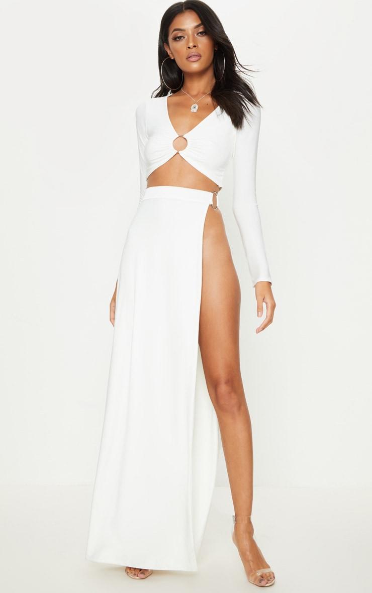 White Ring Detail Maxi Skirt