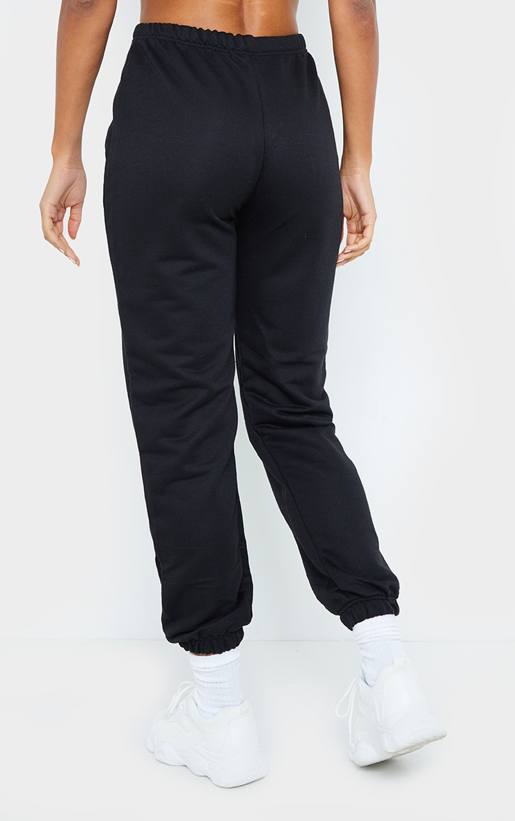 Black Basic Cuffed Hem Jogger 3