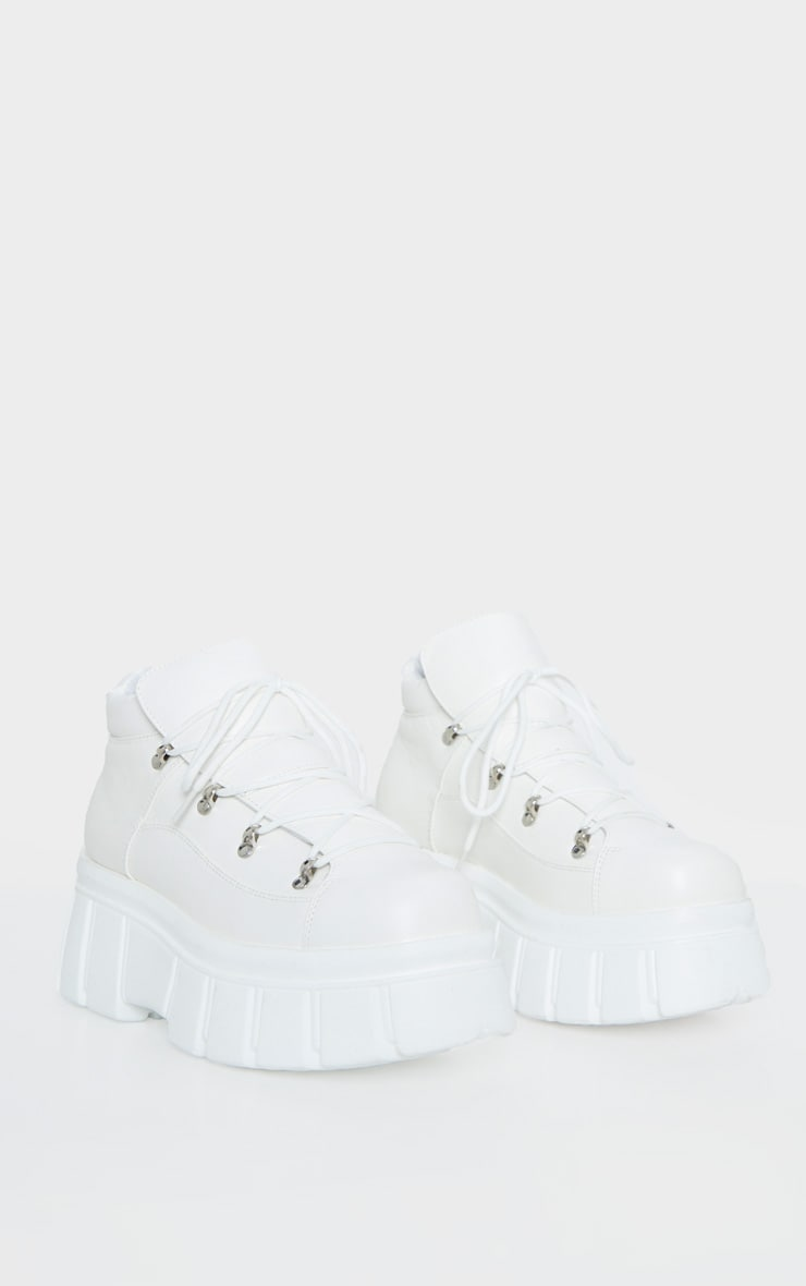 White Extreme Flatform Chunky Sole Ankle Boot 3
