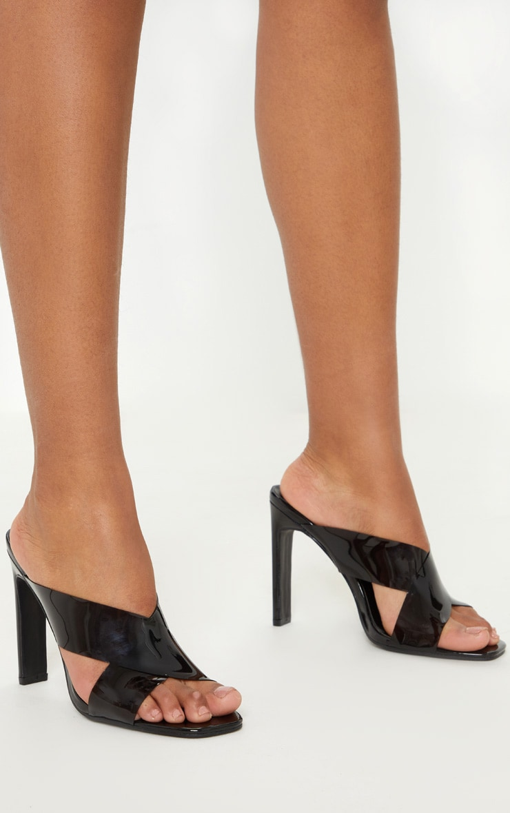 Black Flat Heel Clear Mule Sandal 2