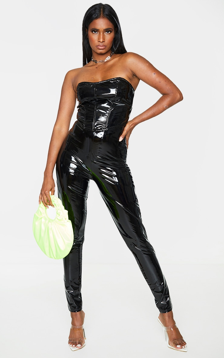Black Vinyl Pocket Detail Skinny Trousers 1