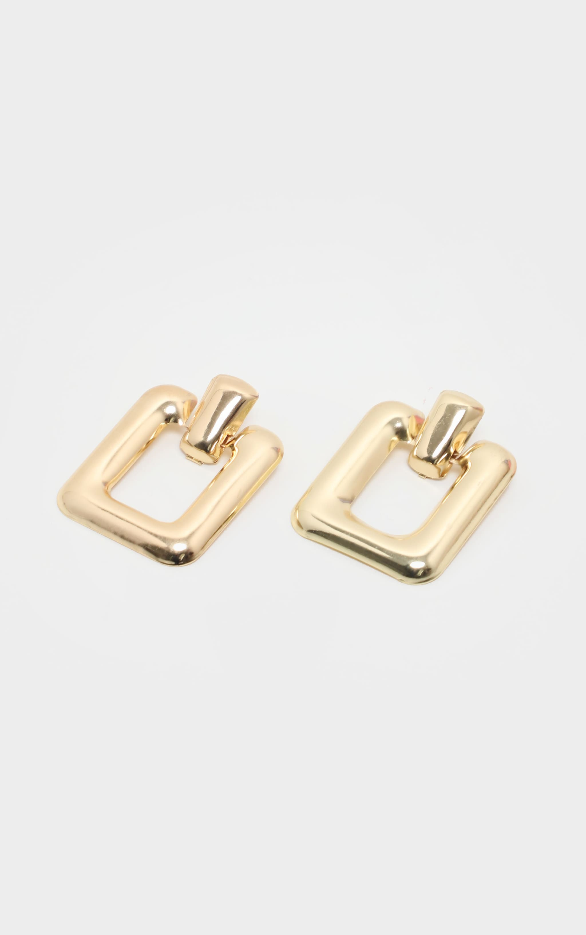 Gold Curved Rectangle Door knocker Earrings 2