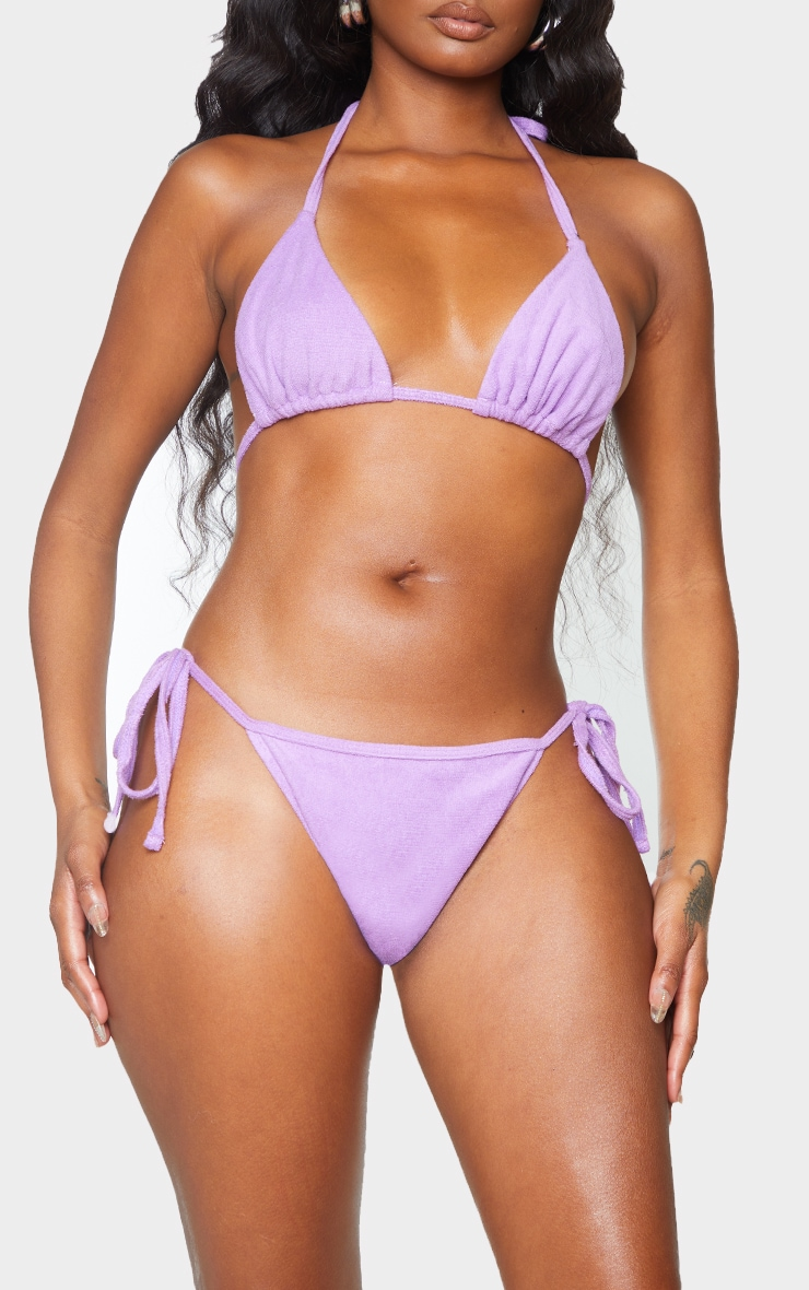 Lilac Towelling Tie Side Bikini Bottoms 1