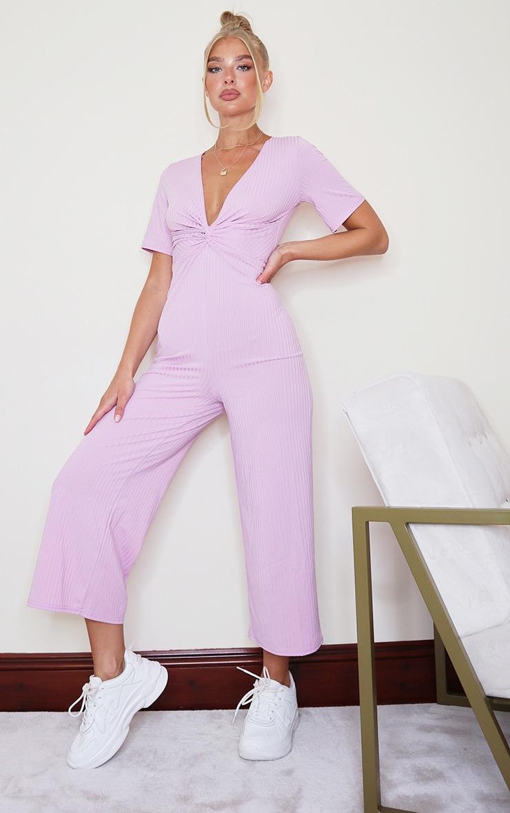 Lilac Ribbed Twist Detail Culotte Jumpsuit 1
