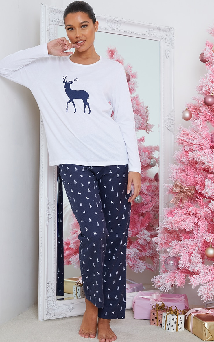Blue Reindeer Printed Long Sleeve PJ Set 3