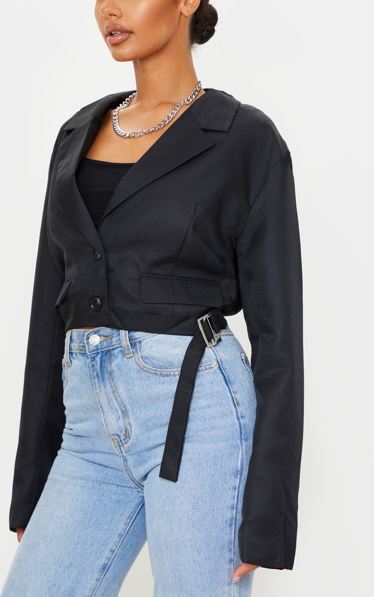 Black Woven Cropped Belt Detail Blazer 4