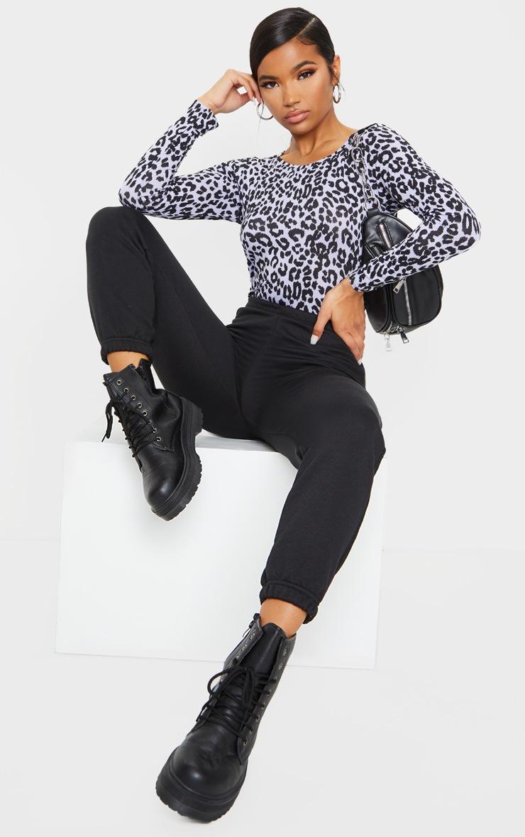 Lilac Jersey Leopard Print Long Sleeve Bodysuit 3
