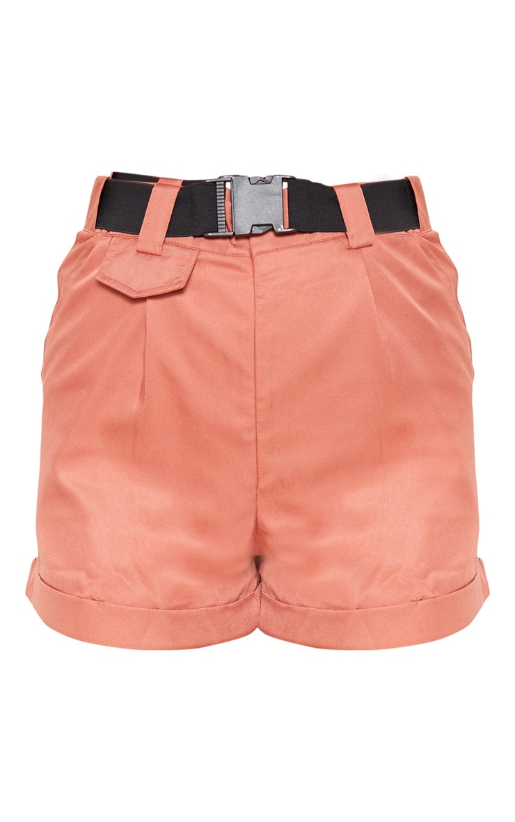 Dusty Rose Woven Belted Turn Up Hem Short  3
