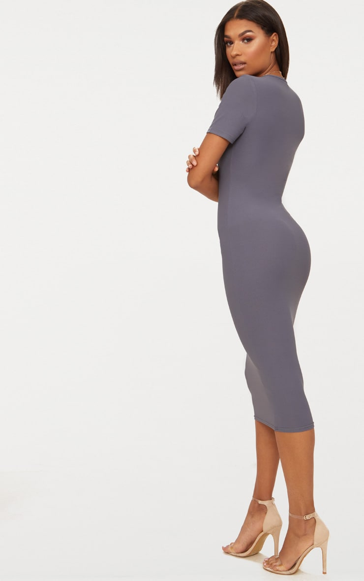 Charcoal Grey Cap Sleeve Midi Dress  2