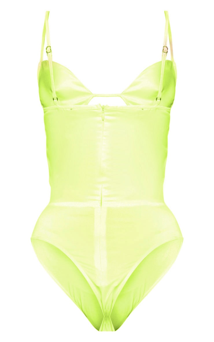 Lime Satin Underwire Cupped Bodysuit 4