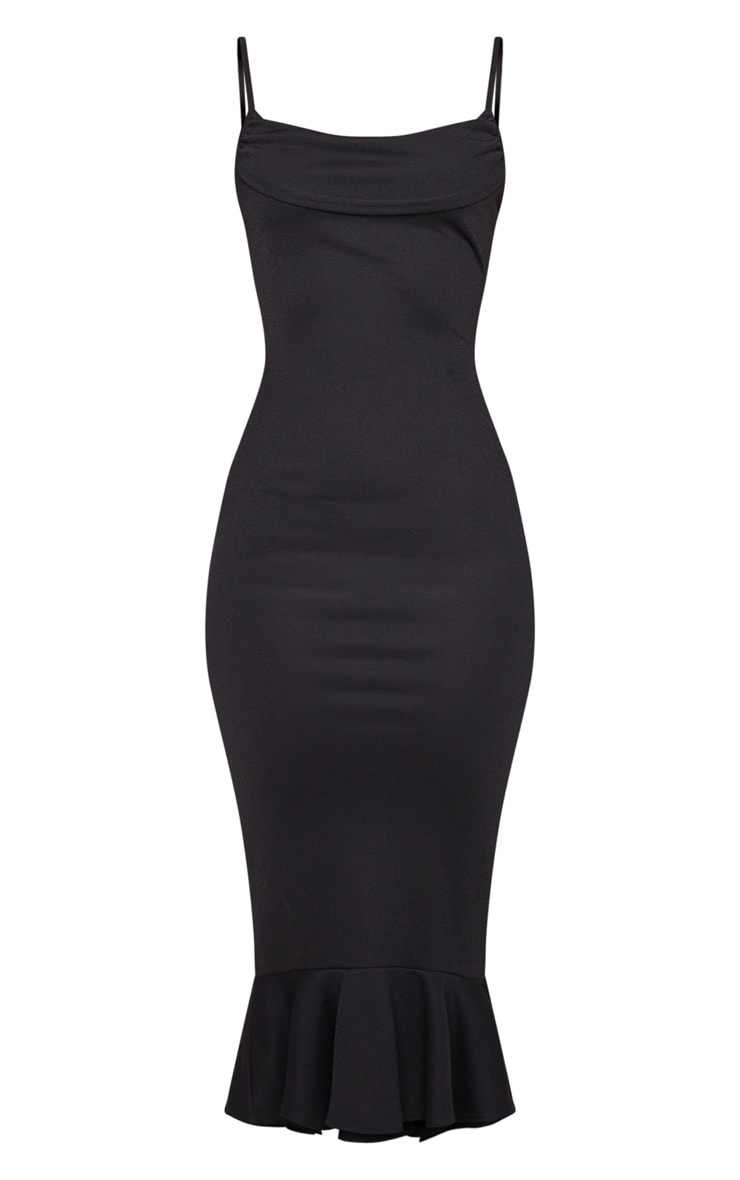 Black Crepe Cowl Frill Hem Midi Dress 5