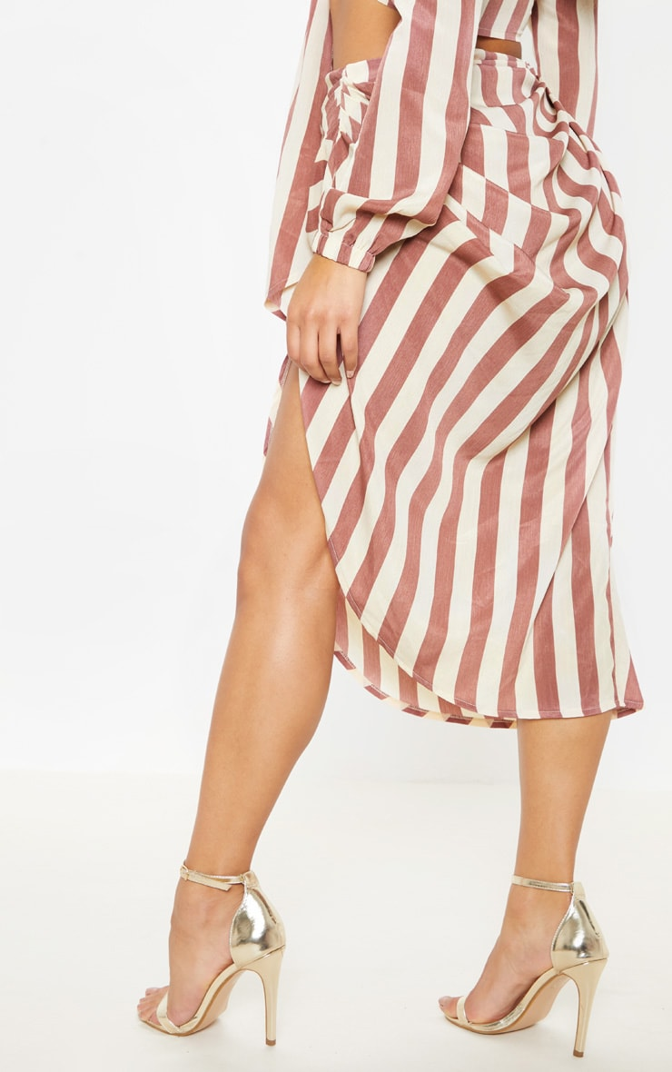 Tan Stripe Ruched Side Midi Skirt 4