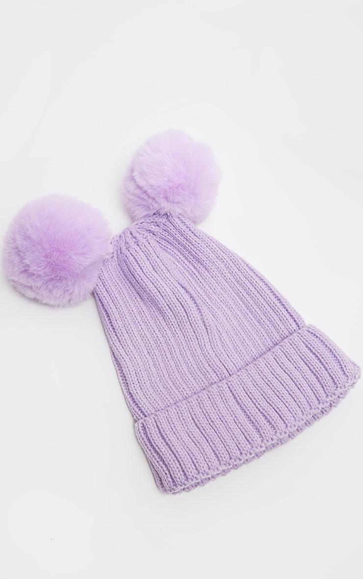 Lilac Rib Knit Double Pom Pom Beanie Hat 2