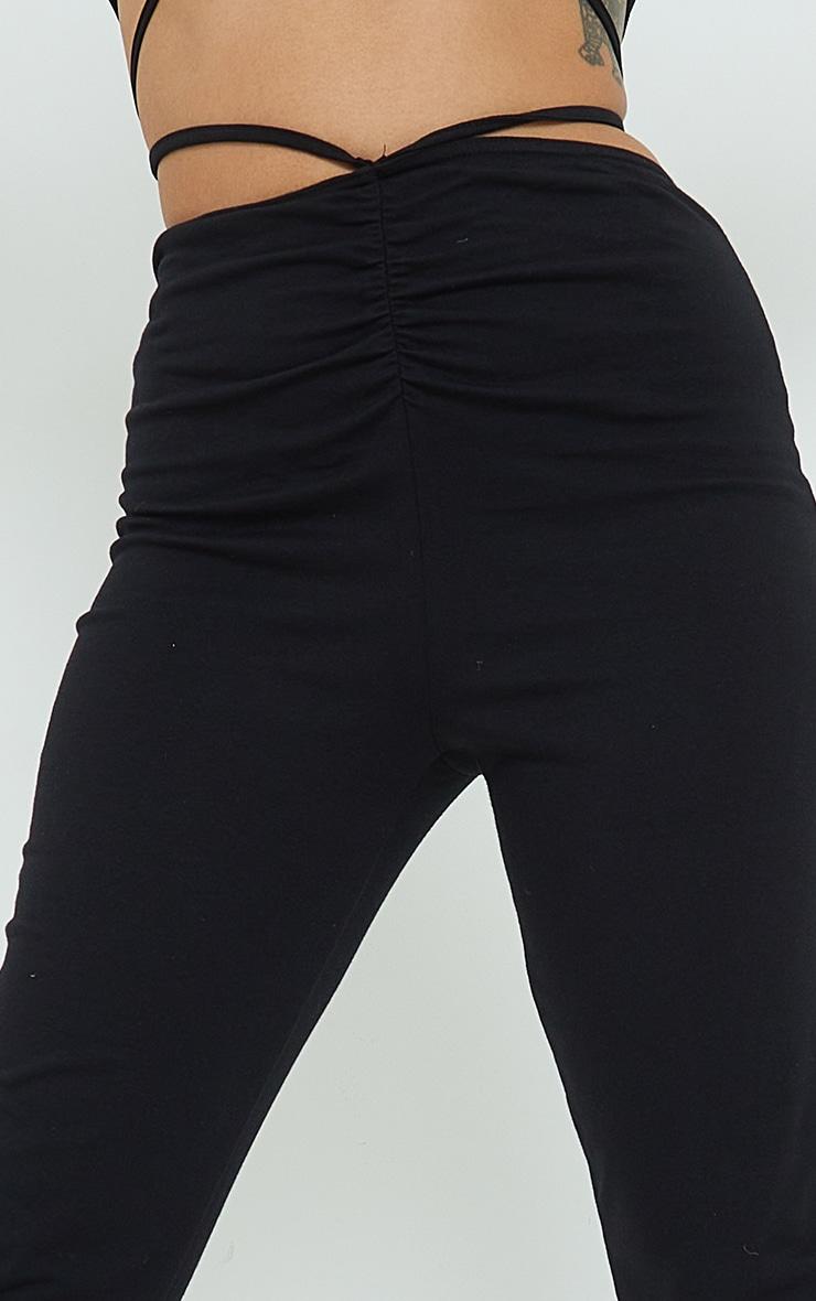 Petite Black Ruched Waist Wrap Around Split Hem Leggings 4