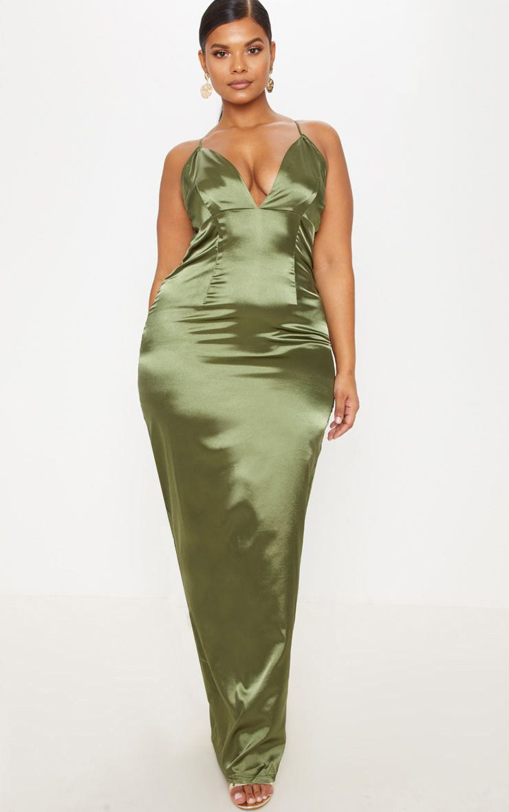 Plus Olive Green Satin Strappy Maxi Dress 1