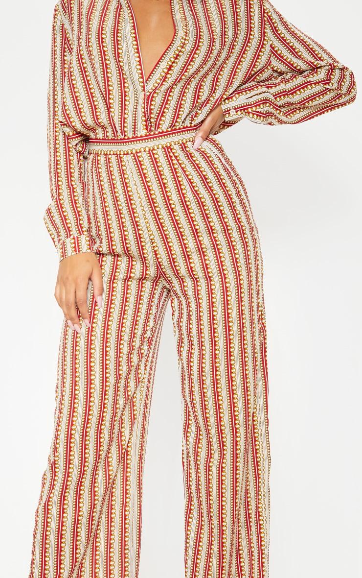 Pantalon ample à imprimé chaîne rouge  5