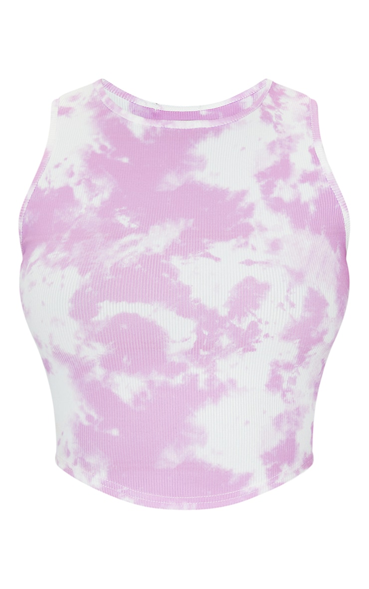 Tall Lilac Tie Dye Rib Racer Neck Crop Top 5