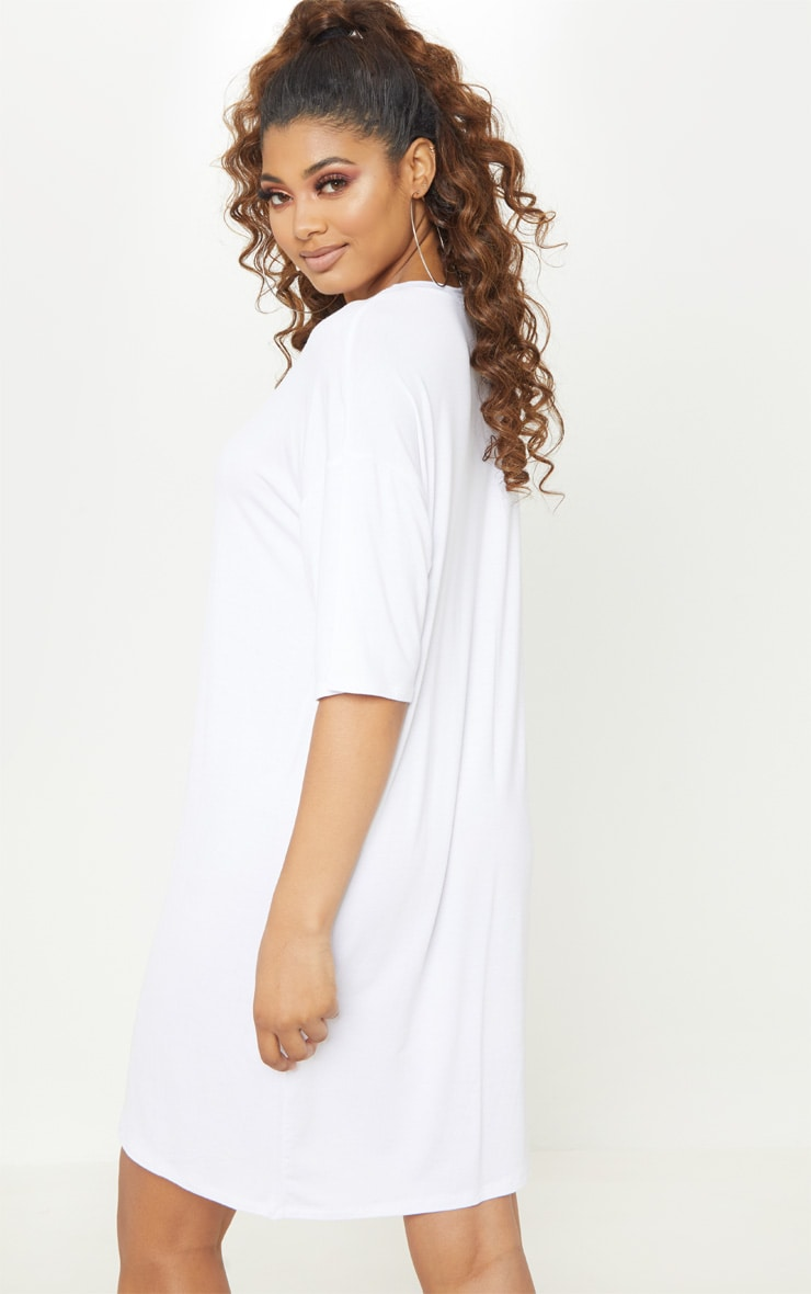 Tall White Oversized T-Shirt Dress 2