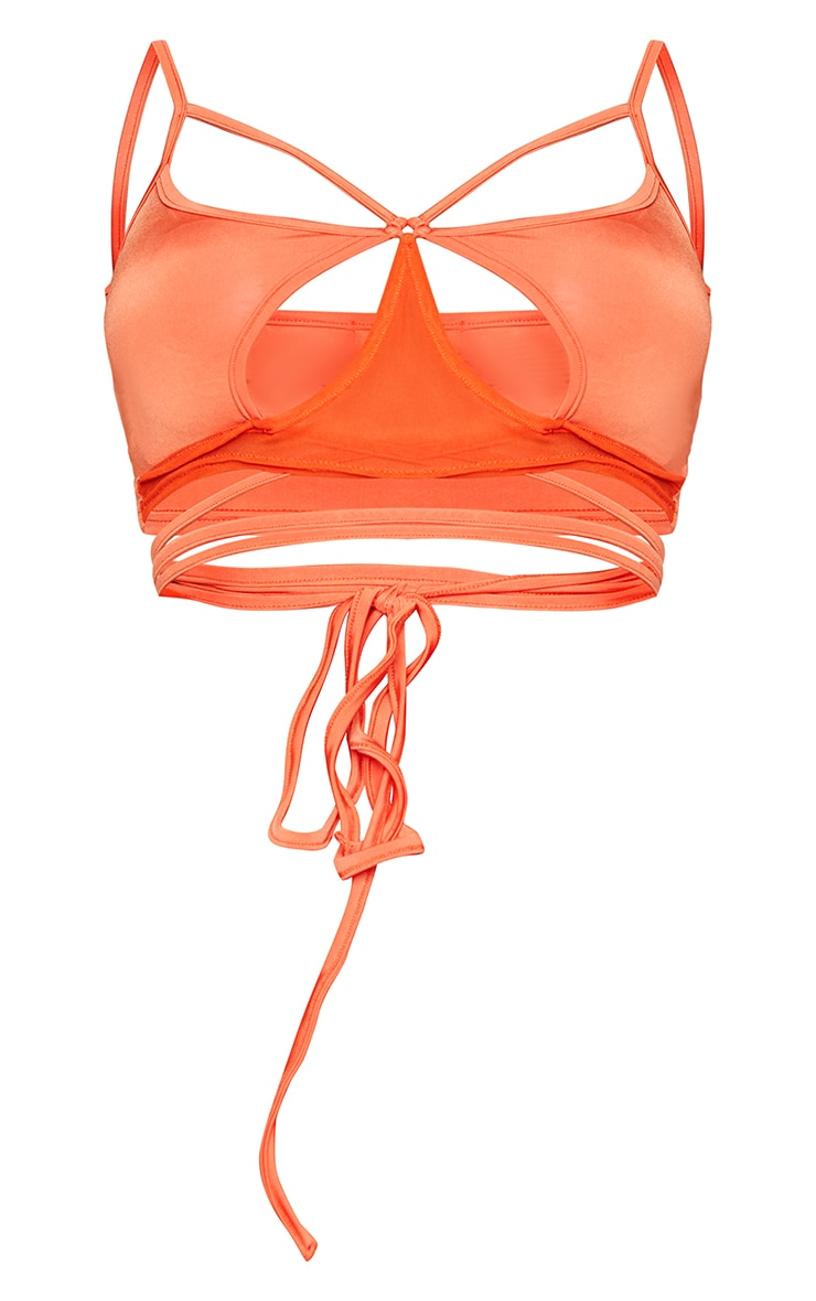Shape Orange Mesh Insert Ring Detail Crop Top 6