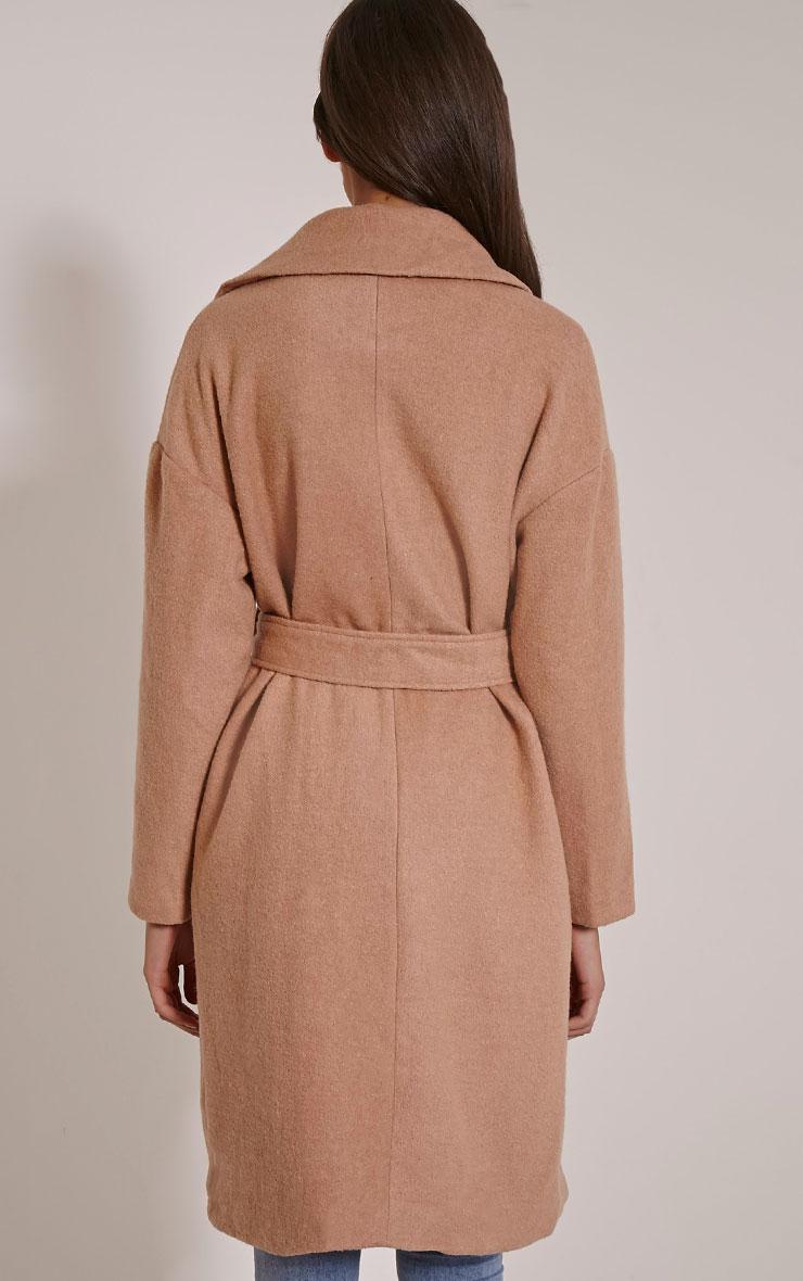 Evangeline Camel Belted Wool Trench Coat 2
