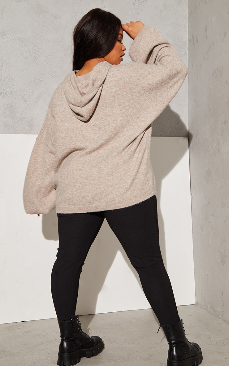 RENEW Plus Oatmeal Knitted Slouchy Hoodie 2