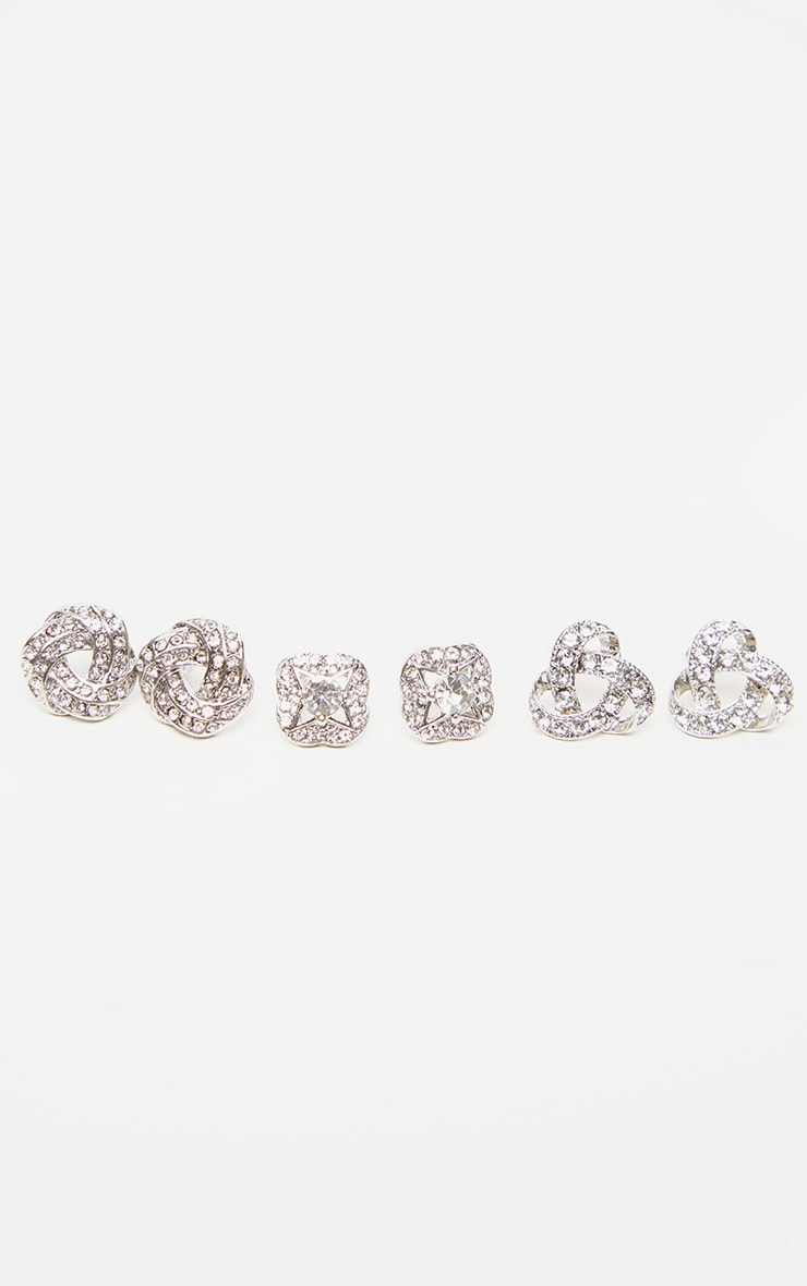 Silver Diamante Knotted Stud Earrings Multi Pack 1