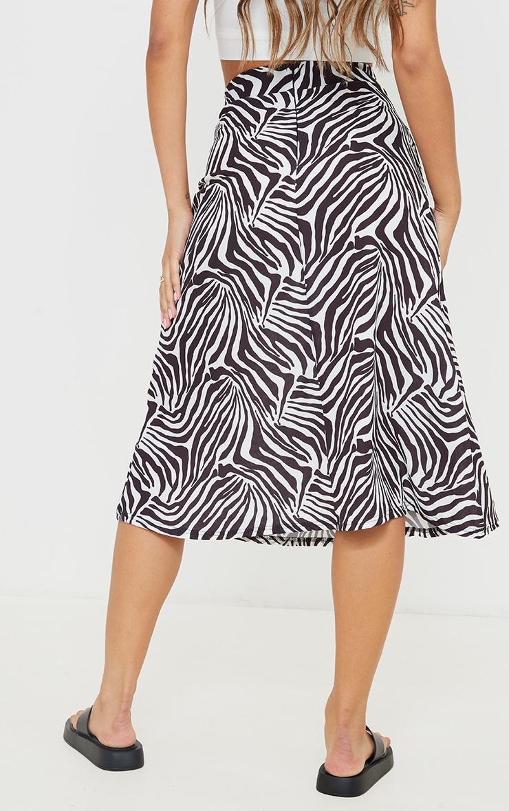 Monochrome Zebra Print Floaty Midi Skirt 3