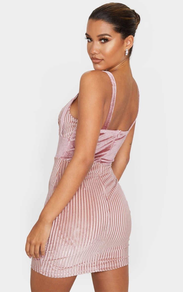 Blush Stripe Velvet Cup Detail Bodycon Dress 2