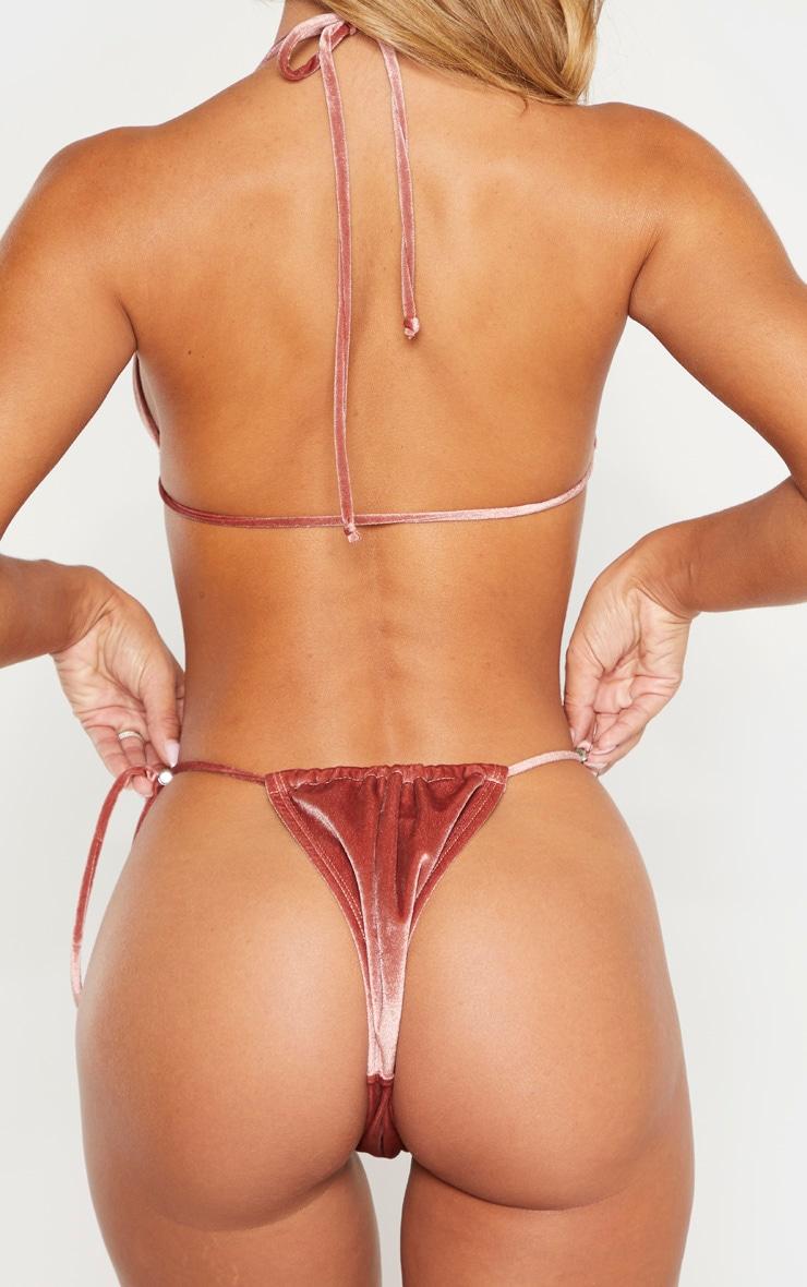 Haut de bikini peau de pêche rose foncé triangle à cordons ajustable 3