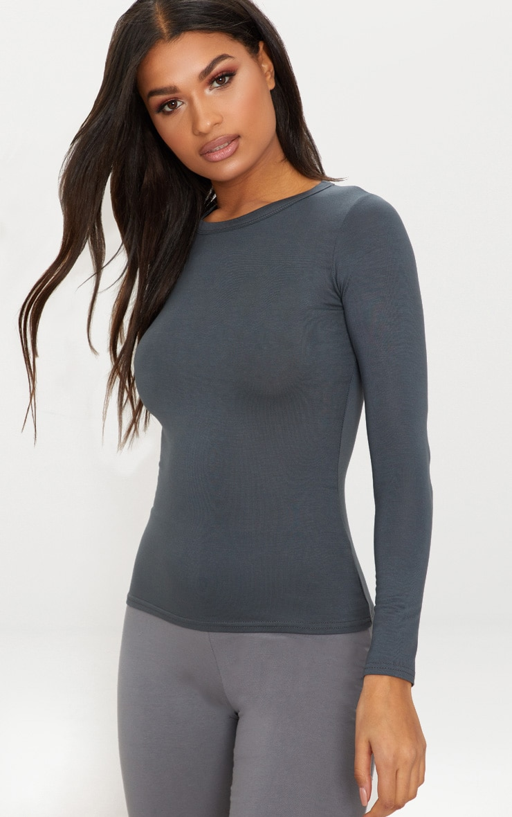 Basic Grey Long Sleeve Fitted T Shirt  1