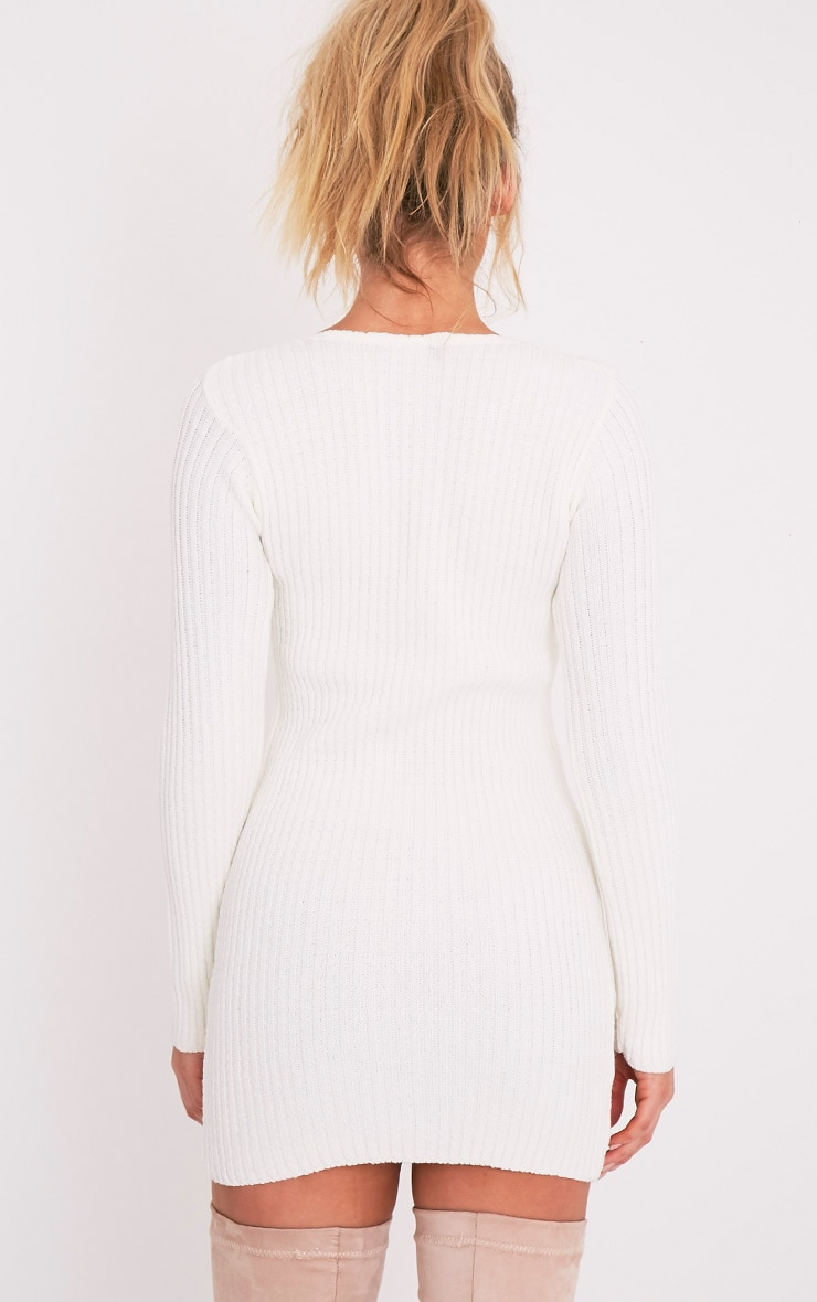Zosia Cream Lace Up Knitted Jumper Dress 2