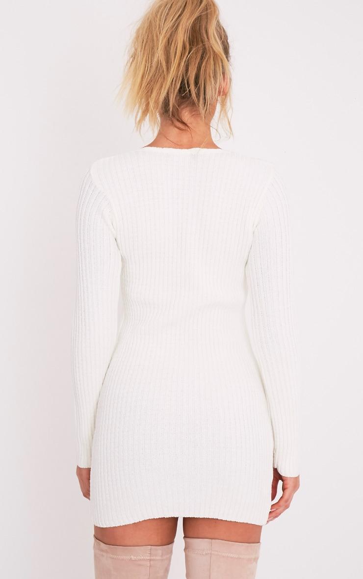 Zosia robe pull tricotée crème à lacets 2