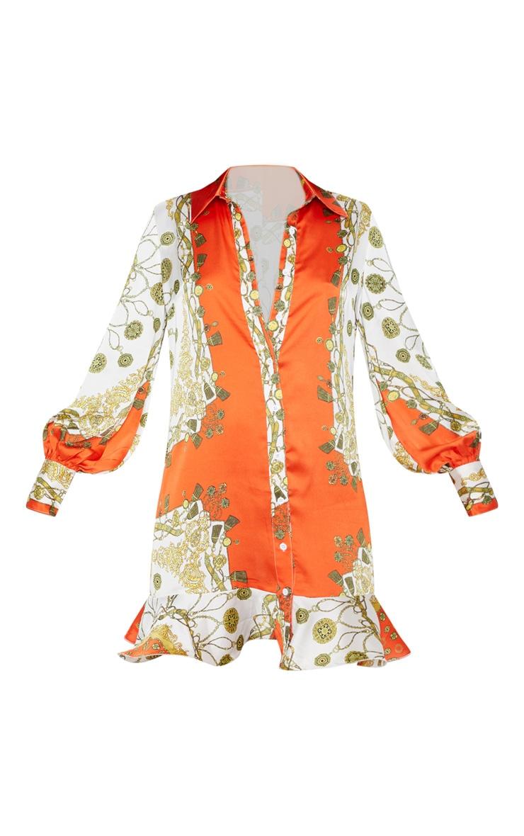 Orange Chain Print Frill Hem Shirt Dress 3