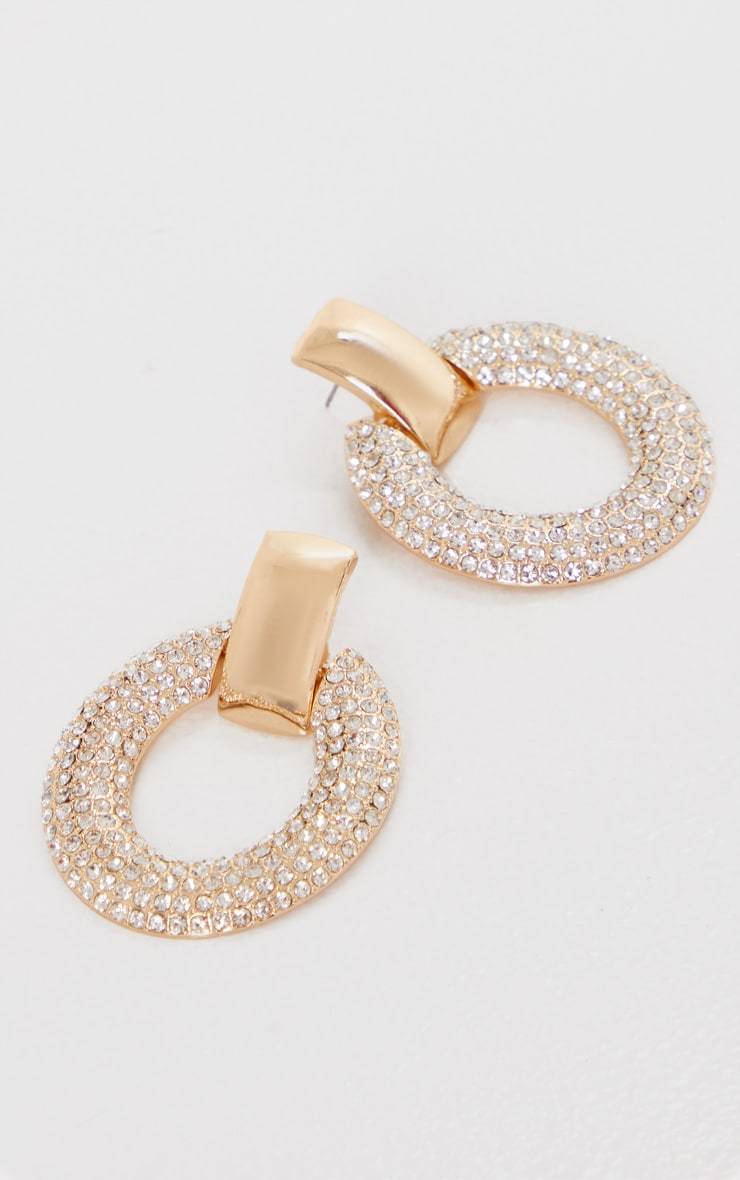 Gold Diamante Oval Large Door Knocker Earrings 2