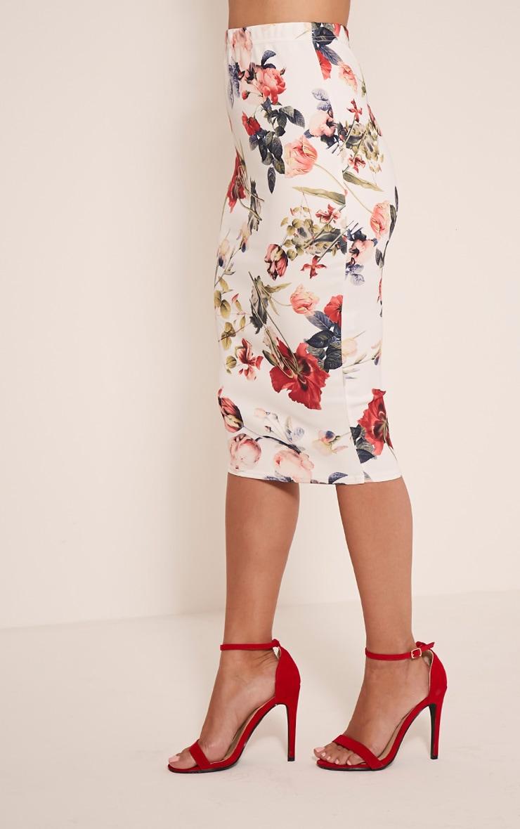 Lisette White Floral Print Midi Skirt 4