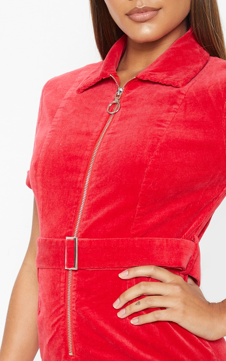 Red Cord Zip Front Belted Dress 5