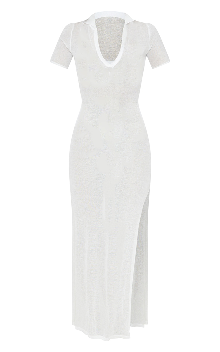 Cream Sheer Knit Collar Detail Maxi Dress 5