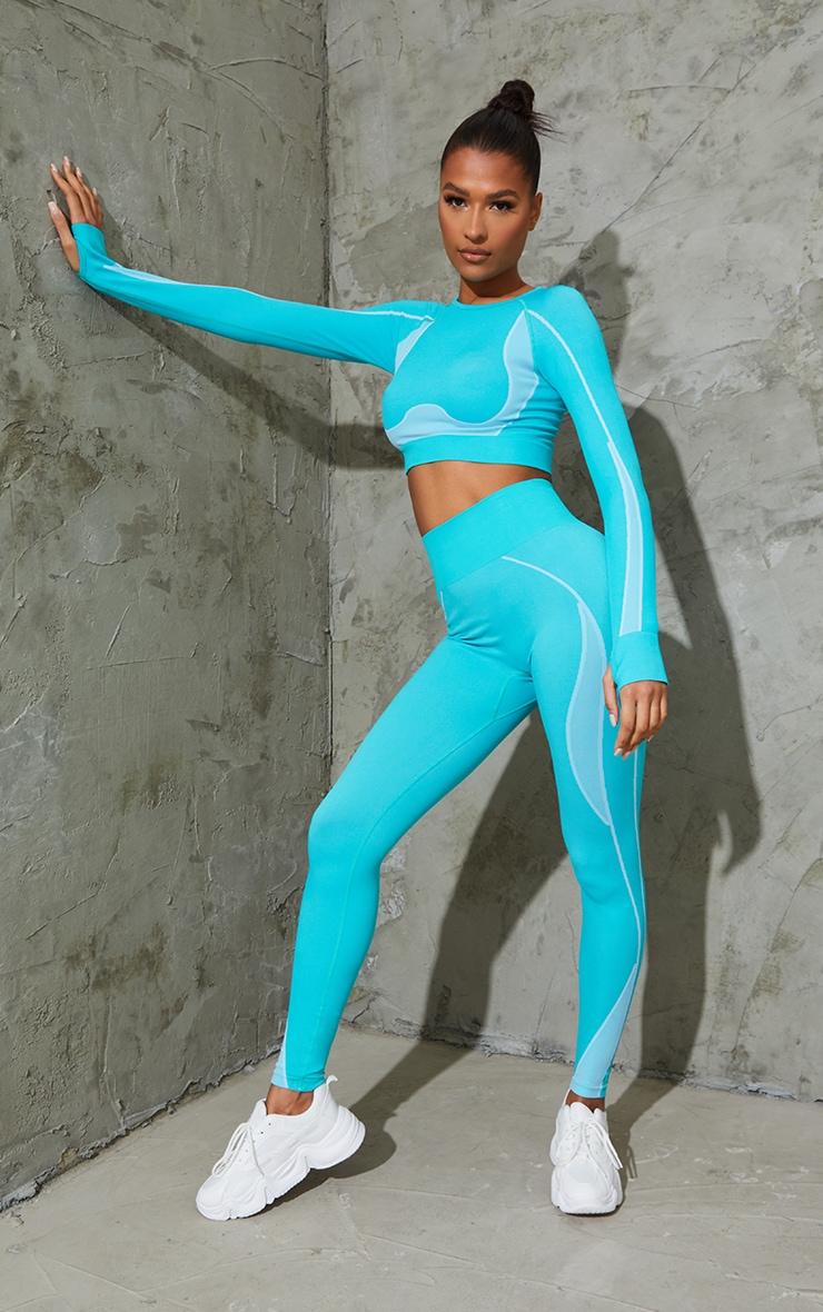 Blue Seamless Contrast Marl High Waist Gym Leggings 1