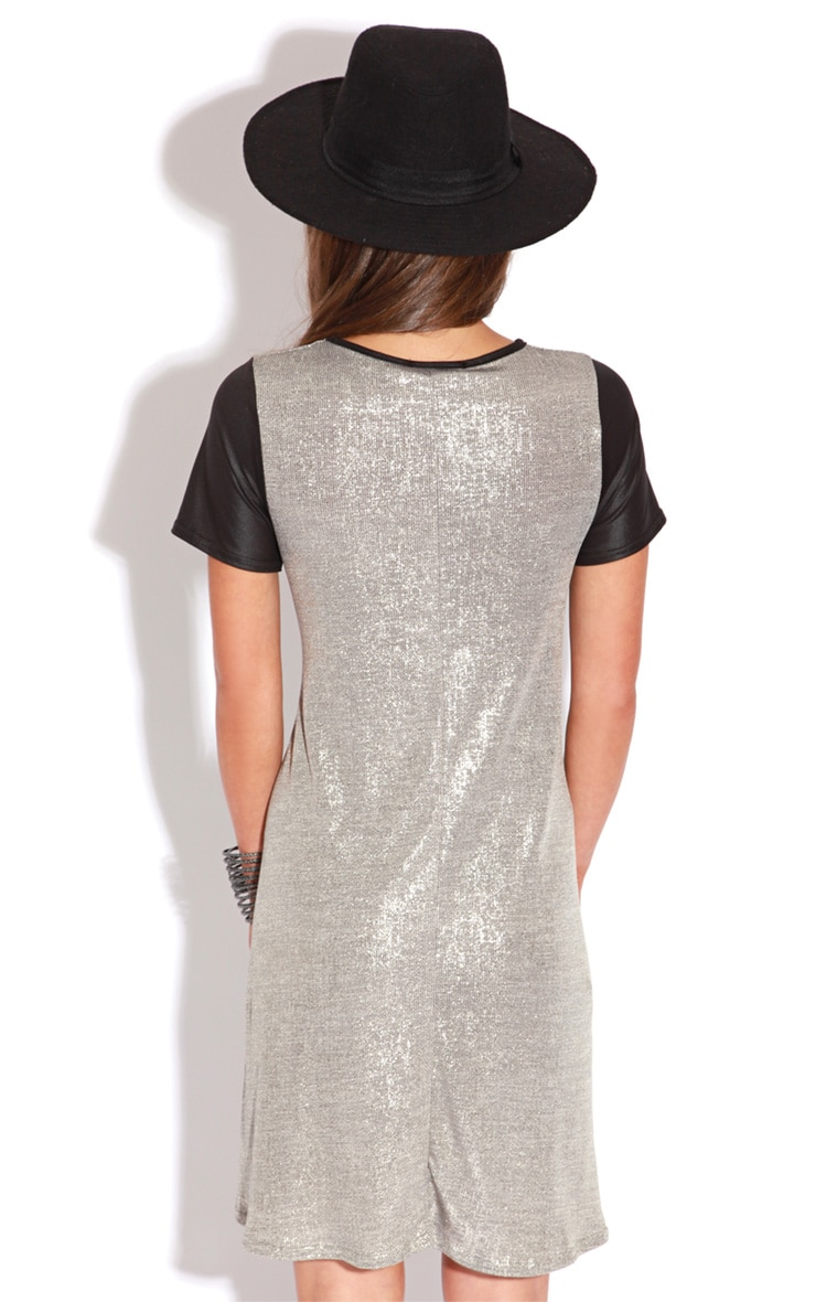 Bevan Gold Metallic Dress With Black Leather Capped Sleeves 2
