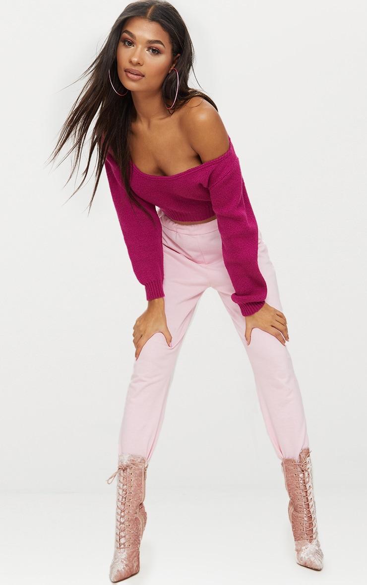 Fuchsia V Neck Off Shoulder Knitted Cropped Jumper 4