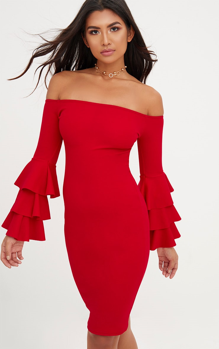 Red Bardot Ruffle Sleeve Midi Dress 1