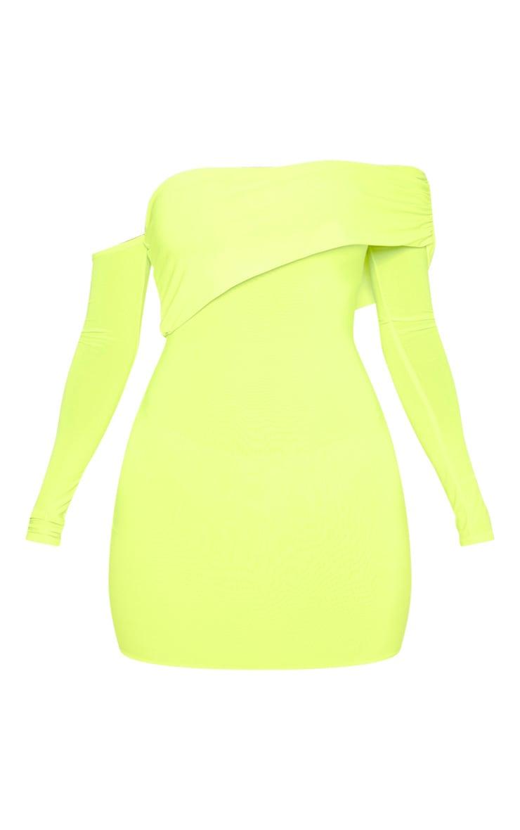 Neon Lime Slinky Fold Over Bodycon Dress 3