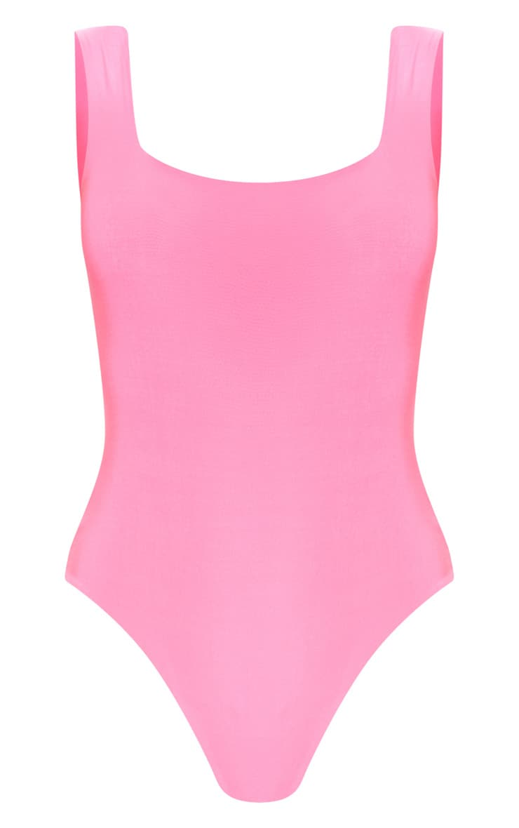Neon Pink Second Skin Square Neck Sleeveless Thong Bodysuit 3